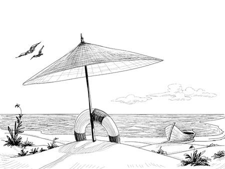 disegni a matita: Beach sfondo vettoriale