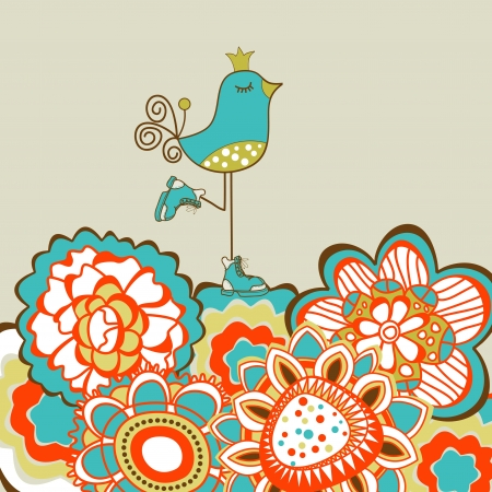 Floral garden and cute bird