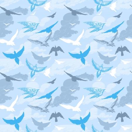 Birds flying in the sky seamless pattern