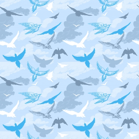 fly up: Birds flying in the sky seamless pattern