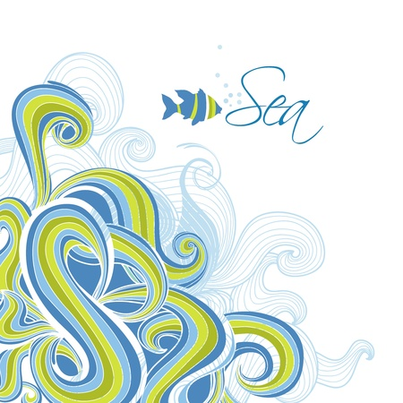 Sea waves vector background  Vector