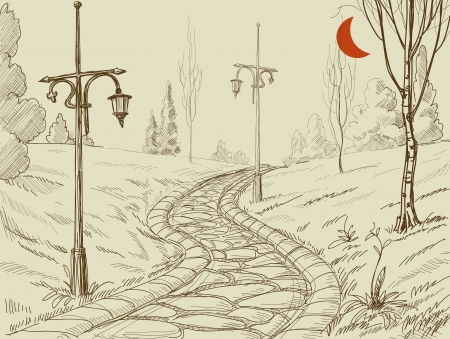 garden lamp: Park alley vector sketch  Illustration