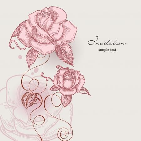 Retro Blumen romantische Rosen Vektor-Illustration