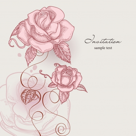 wed beauty: Retro flowers romantic roses vector illustration