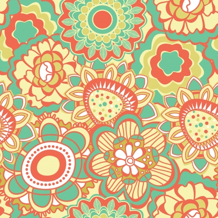 whimsical: Retro flower pattern Illustration