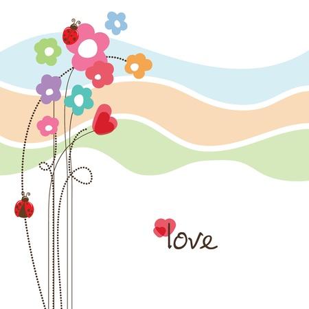 ladybird: Cute floral love card