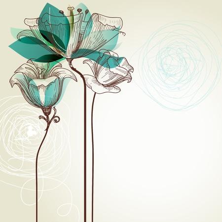 borde de flores: Fondo floral retro Vectores