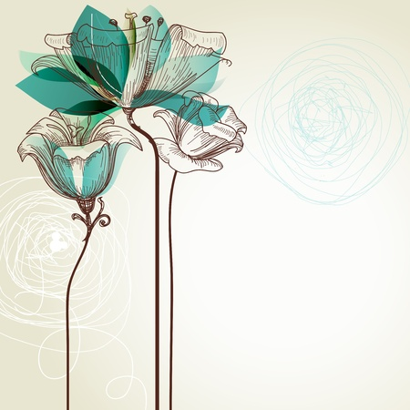 turquoise background: Retro floral background Illustration