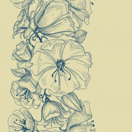 flores vintage: Graphic floral seamless pattern Illustration