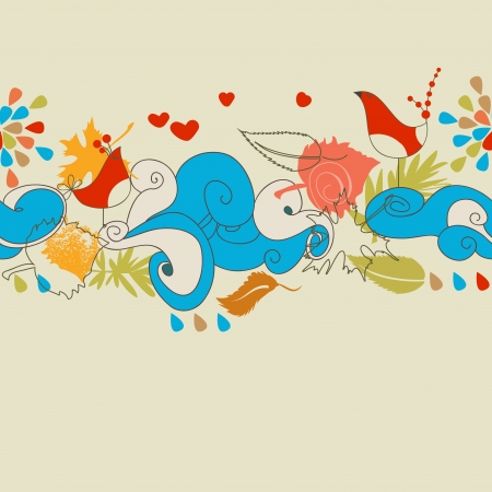 Autumn background with love birds (seamless pattern)
