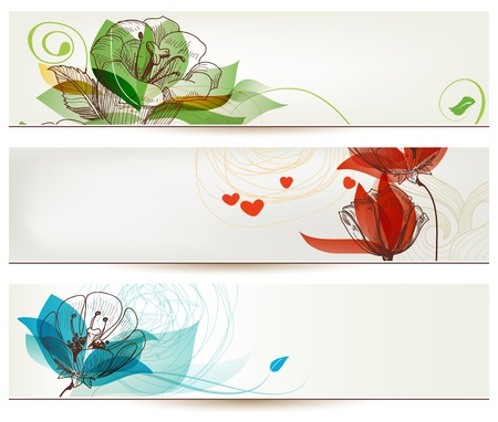 Retro romantic floral banners Illustration