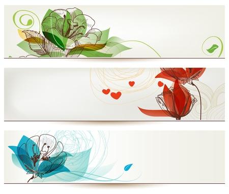 Retro romantic floral banners Ilustração