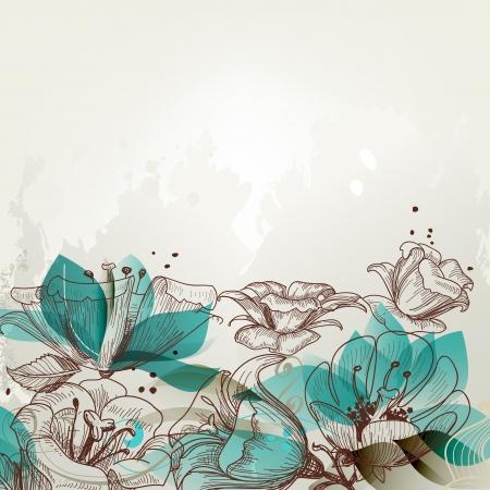 アクアマリン: レトロな花の背景
