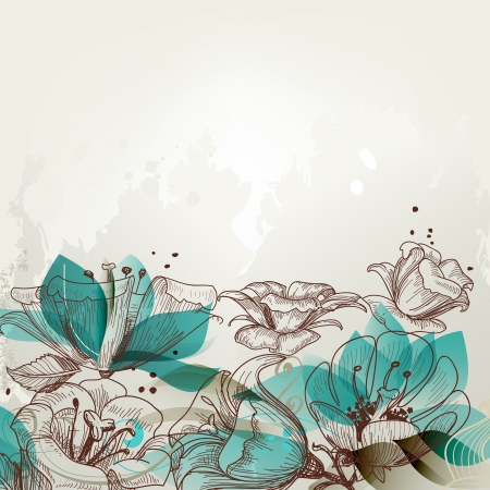 turquesa: Fondo floral retro Vectores