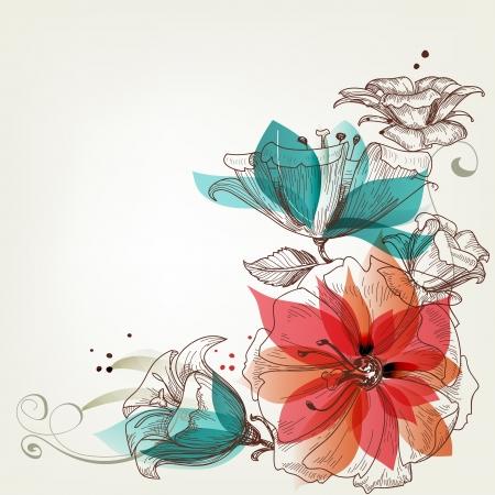 アクアマリン: ビンテージ花の背景