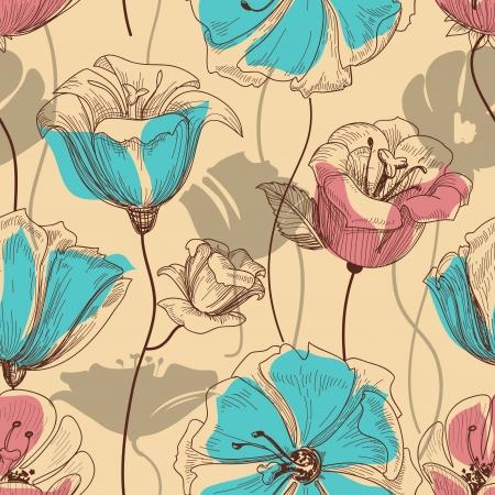 sketch pattern: Retro patr�n floral sin fisuras
