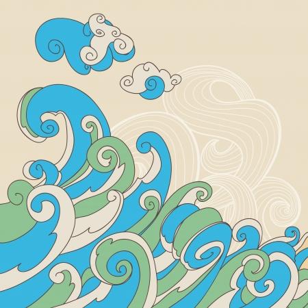 storm cloud: Retro sea waves vector background Illustration