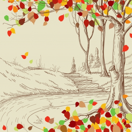 autumn leaves falling: Autumn tree in the park sketch, bright leaves falling