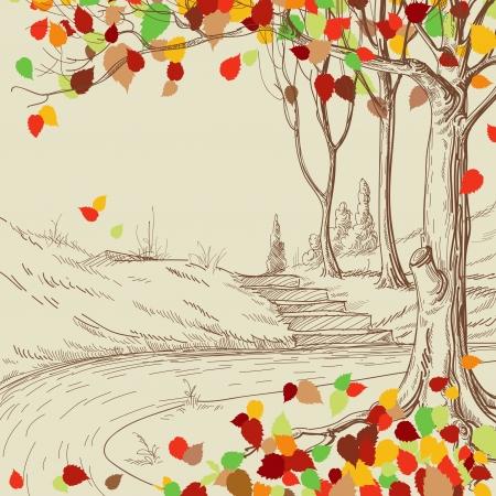 sketch: Herfst boom in het park schets, heldere bladeren vallen