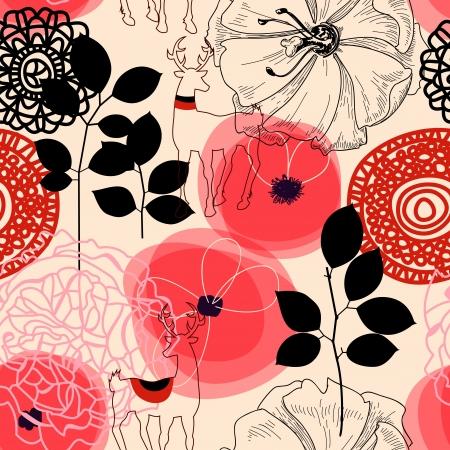 motif floral: Fleurs et chevreuils seamless pattern