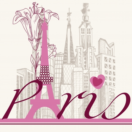 Paris card urban architecture and lily  Stock Vector - 15499604
