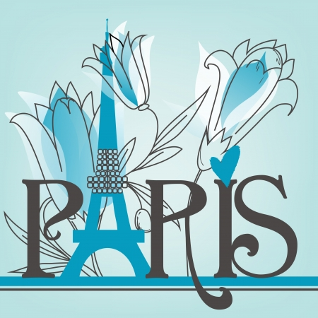 french text: Paris lettering with lilies