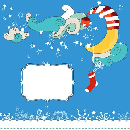 Christmas eve scene card for children  Vector