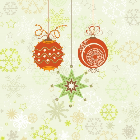 Christmas ornaments in red and green, snowflakes background  Vector
