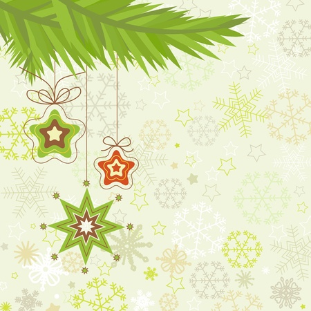 holiday background: Christmas tree, star ornaments illustration