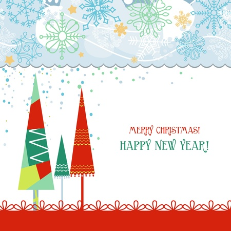 Christmas trees card in traditional colors over white  Vector