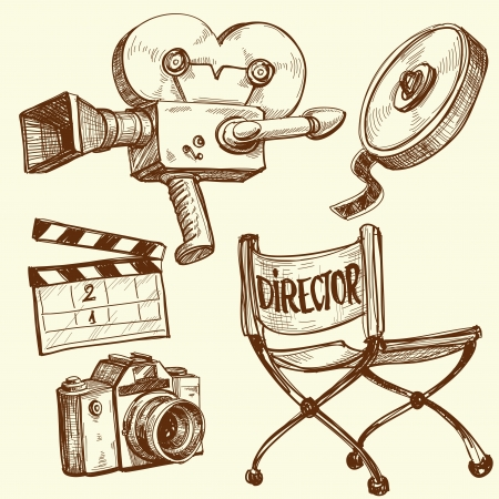 Cinema and photography vintage set  Vector