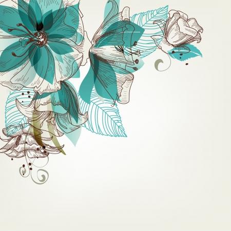 アクアマリン: レトロな花イラスト