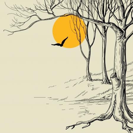 dessin au trait: Lune dans l'esquisse forêt