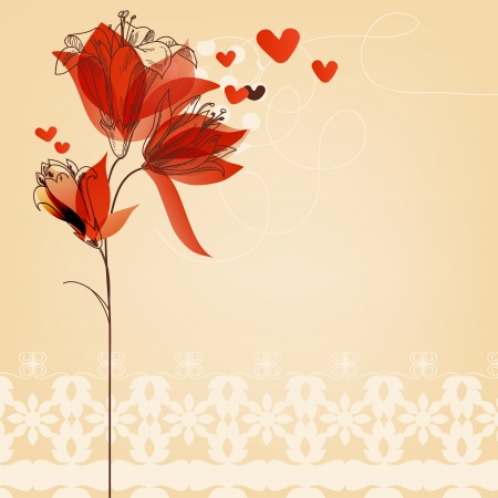 flores vintage: Love floral background