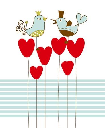 Love birds  illustration  Ilustração