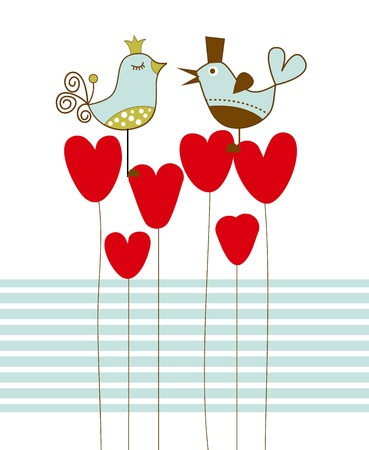 a marriage meeting: Love birds  illustration  Illustration