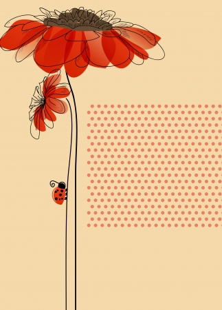 Elegant card with flowers and cute ladybug  Vector