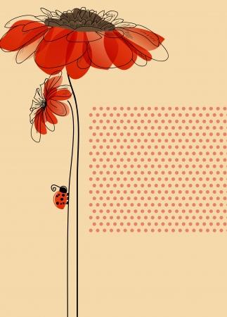 gerbera daisy: Tarjeta elegante con flores y mariquita linda