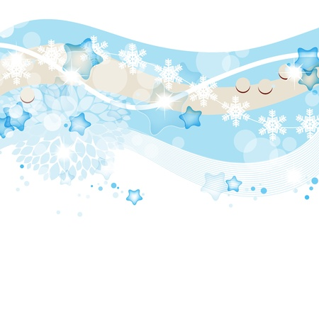 border line: Blue winter and Christmas  background