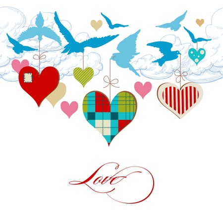 Blue birds and hearts in the sky vector Vector