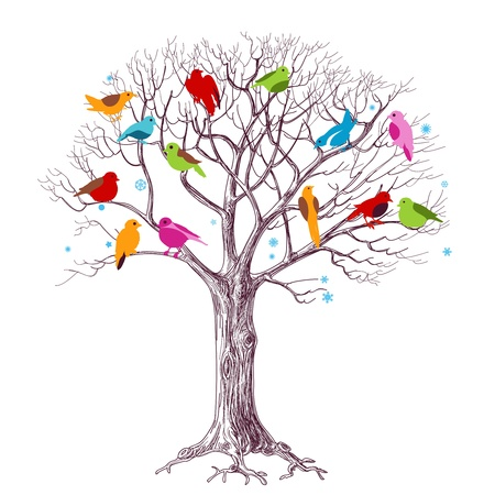 flock of birds: Birds Christmas tree vector Illustration