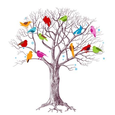 Birds Christmas tree vector Illustration