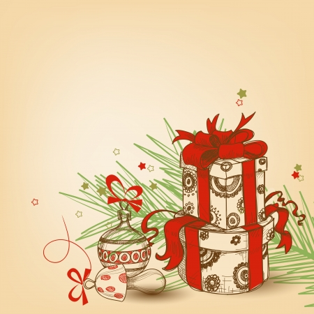 Christmas gift box with red ribbon, tree branch and ornaments vector illustration Illustration