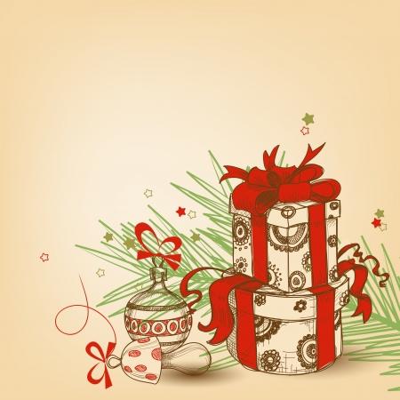 boldog karácsonyt: Karácsonyi ajándék doboz piros szalaggal, fa ága és díszek vektoros illusztráció Illusztráció