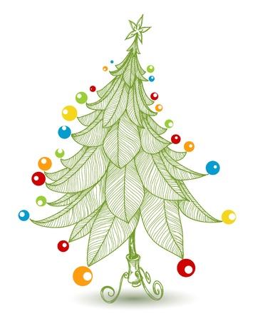 Brillantemente albero di Natale decorato per i bambini