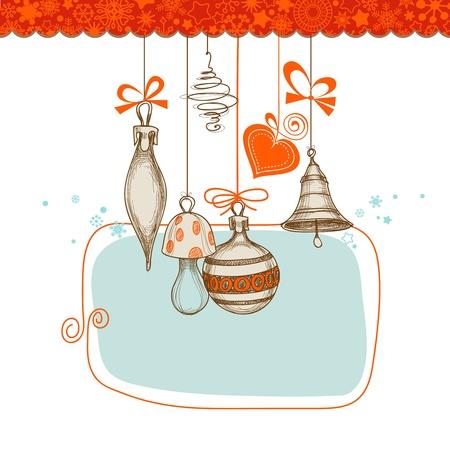adorn: Retro fondo de Navidad, colgando adornos ilustraci�n vectorial Vectores