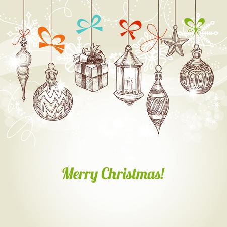 Retro Christmas and new year card, hanging traditional ornaments vector