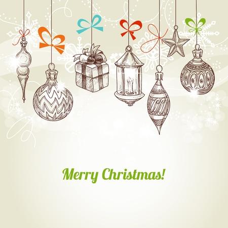 Retro Kerstmis en nieuwe jaarkaart, opknoping traditionele ornamenten vector