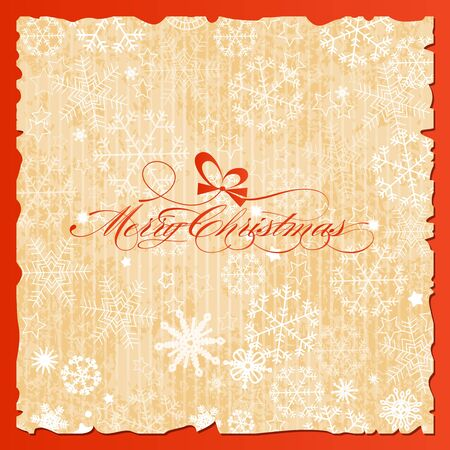 Merry Christmas lettering over vintage paper snowflakes background Vector