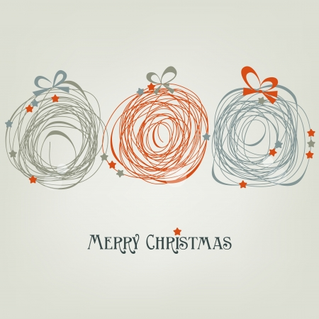 baubles: Cute Christmas card abstract decorations